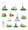 set of color crimea icons drawing vector image