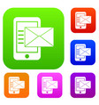 smartphone with envelope set collection vector image
