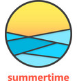 summertime sign with waves and sunset vector image
