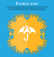 Umbrella icon sign Floral flat design on a blue vector image
