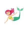 Pink Hair Mermaid In Green Swimsuit Top Bra Fairy vector image