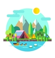 Summer landscape tent mountains lake Hiking vector image