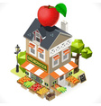 Greengrocer Shop City Building 3D Isometric vector image vector image