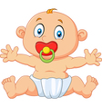 Cute baby boy sitting with pacifier isolated vector image vector image