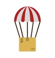 colorful parachute with cardboard box vector image