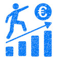 euro business growth icon grunge watermark vector image