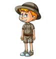 little boy in safari clothes vector image