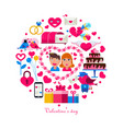 valentine s day concept circle vector image