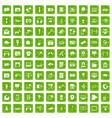 100 multimedia icons set grunge green vector image
