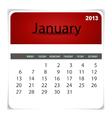 2013 calendar January vector image vector image