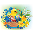 Easter basket with a baby chick vector image vector image