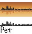 Perth skyline in orange background vector image