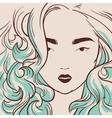 beautiful woman with long hair hand drawn vector image vector image