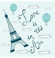 Love is in the air Concept card with Eiffel tower vector image