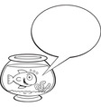 Cartoon fishbowl with a caption balloon vector image