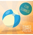 Cute summer poster - blue and yellow striped beach vector image