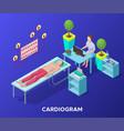 isometric cardiogram medical procedure template vector image