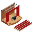 isometric concert stage and black grand piano at vector image