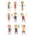 Kids Education Retro Cartoon Set vector image