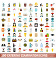 100 catering examination icons set flat style vector image