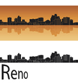 Reno skyline in orange background Vector Image