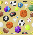 sport balls seamless pattern background vector image