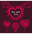 cartoon birds above romantic flowers holding heart vector image