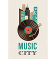 Music and city landscape background vector image vector image