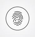 fingerprint outline symbol dark on white vector image