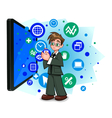 information technology in business vector image