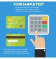 Human hand entering pin code in ATM payment vector image vector image
