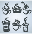 collection of cakes and sweet drinks vector image vector image