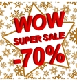 Winter sale poster with WOW SUPER SALE MINUS 70 vector image