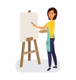 Female painter drawing on a canvas Creative vector image