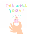 Get well soon Hand holding a cupcake vector image