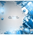 Christmas background with fir twigs gifts and blue vector image vector image