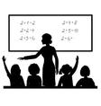 Teacher at blackboard in the classroom with vector image