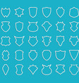 White outline shields on blue background vector image