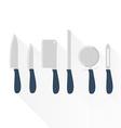 Set of kitchen knives vector image