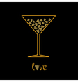 Martini glass with pink hearts inside Love card vector image