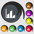 Chart icon sign Symbol on eight colored buttons vector image