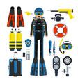 equipment for underwater sport gas scuba wetsuit vector image