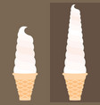 Ice cream soft serve in waffle cone vector image