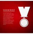 Medal flat icon on red background vector image