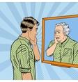 Pop Art Shocked Man Looking at Older Himself vector image