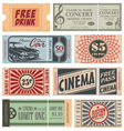 Retro Tickets and Coupons vector image