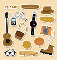 sticker object boy smart camera guitar shoe skateb vector image