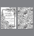 Wedding invitation with black and white peony vector image