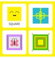 Learning square form shape Smiling face Cute vector image