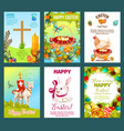 easter holidays cartoon greeting card set vector image vector image
